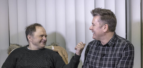 Stephen a service user and James a support worker.  Stephen had lived in an institution from the age of 7 for 50 years, the NAS helped him moving into his own accommodation where he continues to receive on going support.