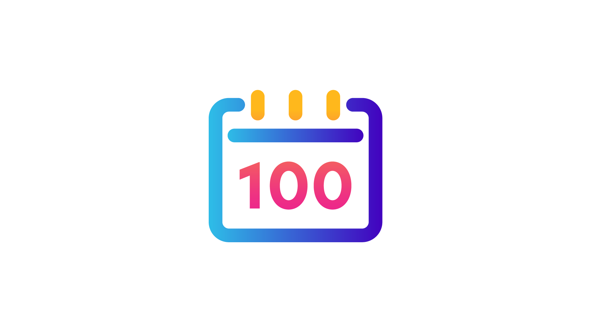 calendar icon with '100' written in the middle