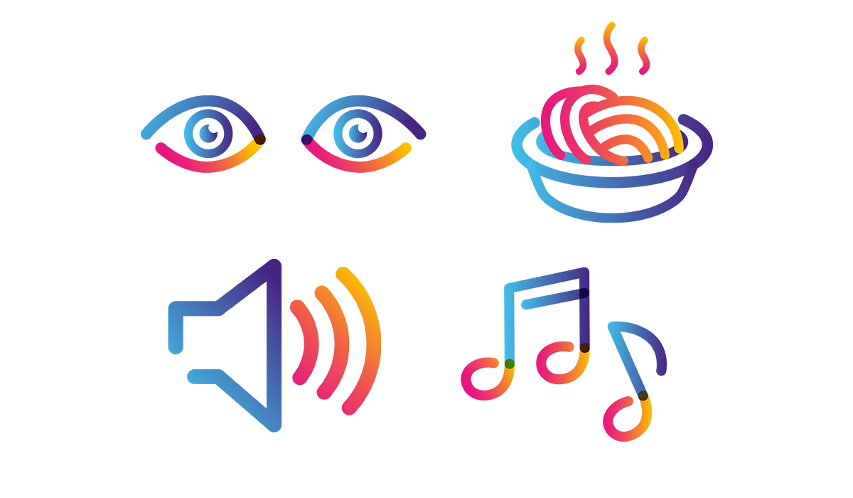 eyes, pasta dish, volume and music note icons