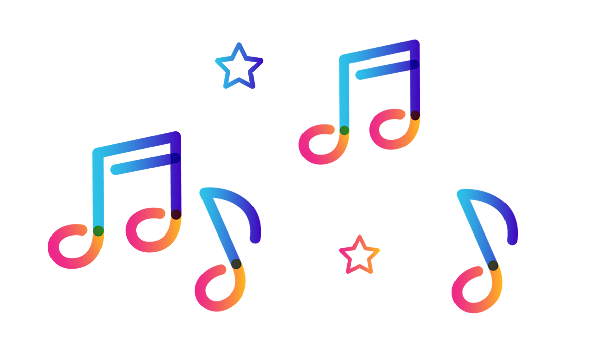music note icons and star icons