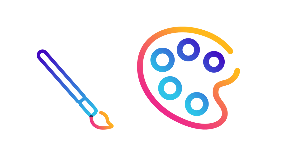 paint palette and paintbrush icon